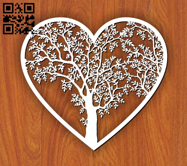 Tree and heart E0011077 file cdr and dxf free vector download for laser cut