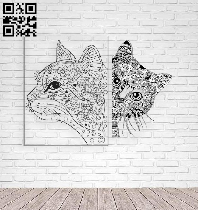 Two cats E0011307 file cdr and dxf free vector download for laser engraving machines