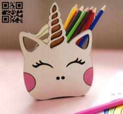 Unicorn pencil holder E0011149 file cdr and dxf free vector download for laser cut
