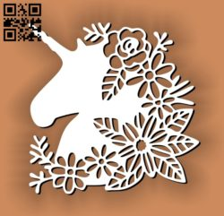 Unicorns with flowers E0011192 file cdr and dxf free vector download for Laser cut