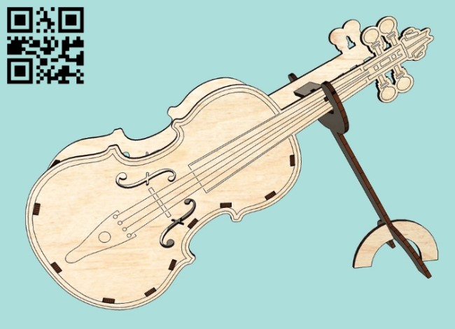 Violin E0011162 file cdr and dxf free vector download for Laser cut