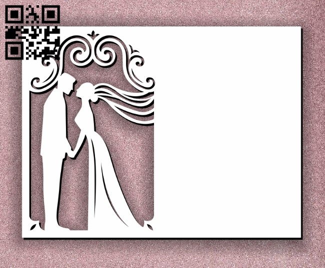 Wedding card decoration E0011257 file cdr and dxf free vector download for laser cut