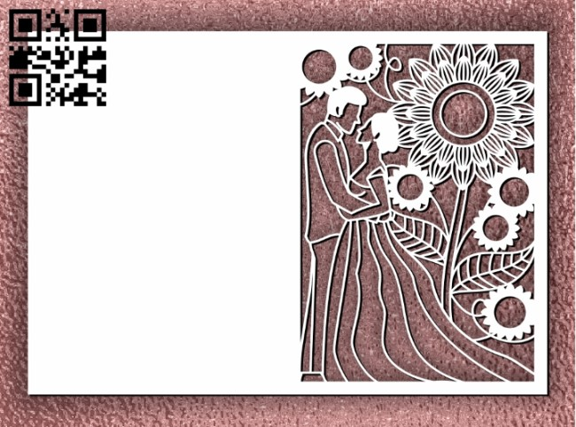 Wedding card decoration E0011259 file cdr and dxf free vector download for laser cut