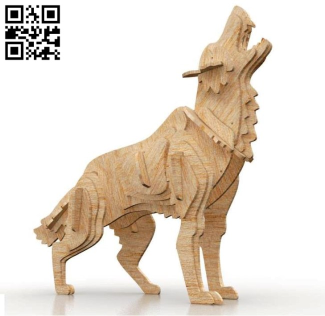 Wolf E0011029 file cdr and dxf free vector download for Laser cut
