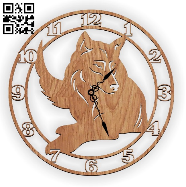 Wolf clock E0011310 file cdr and dxf free vector download for Laser cut