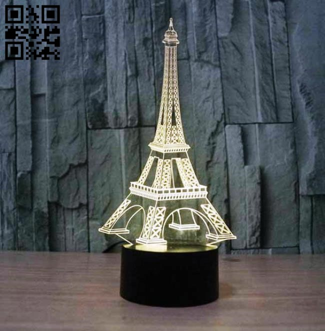 3D illusion led lamp Eiffel Tower E0011442 file cdr and dxf free vector download for laser engraving machines