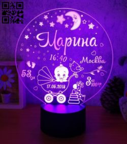 3D illusion led lamp baby E0011374 file cdr and dxf free vector download for Laser cut