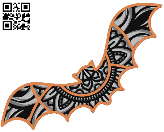 Bat mandala multilayer E0011530 file cdr and dxf free vector download for Laser cut