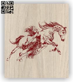 Beauty and horse E0011400 file cdr and dxf free vector download for laser engraving machines