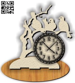 Bird clock E0011633 file cdr and dxf free vector download for laser cut
