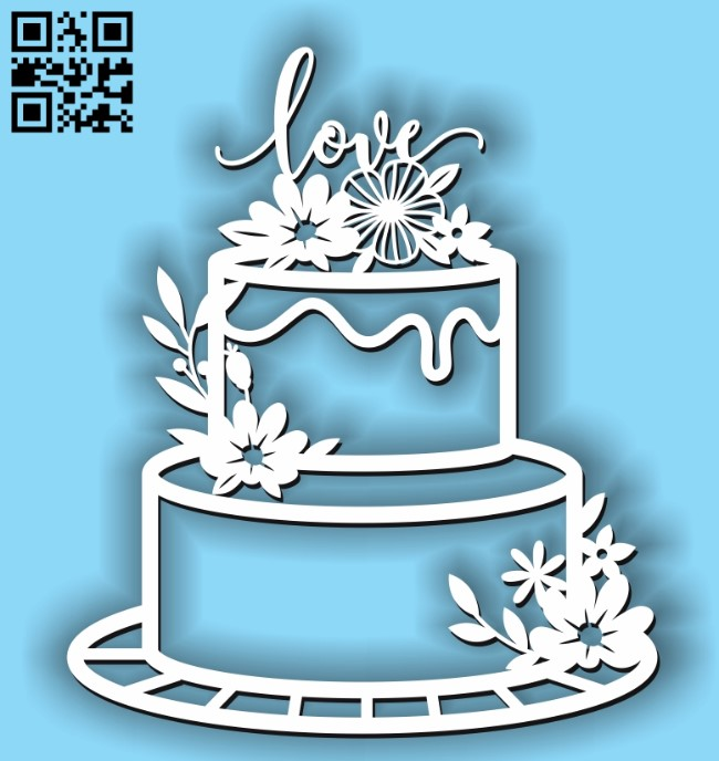 Birthday love cake E0011411 file cdr and dxf free vector download for laser cut