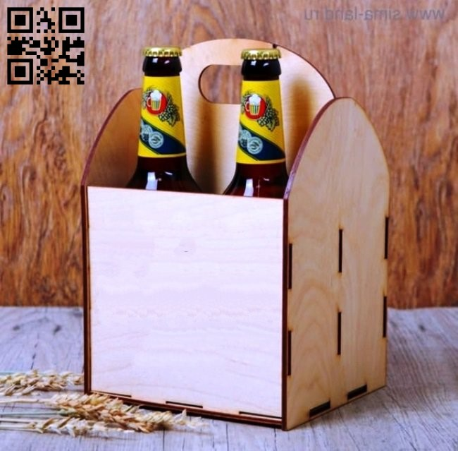 Bottle beer box E0011419 file cdr and dxf free vector download for laser cut
