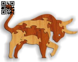 Bull puzzle E0011628 file cdr and dxf free vector download for laser cut