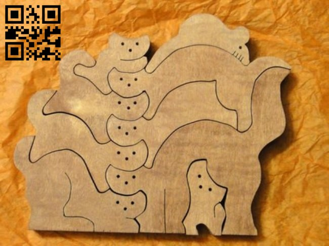Cat Puzzles E0011465 file cdr and dxf free vector download for Laser cut