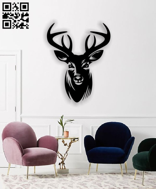 Deer head E0011537 file cdr and dxf free vector download for Laser cut