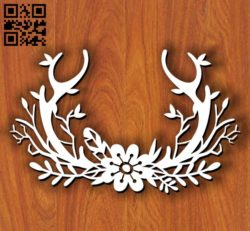 Deer horns with flowers E0011410 file cdr and dxf free vector download for laser cut