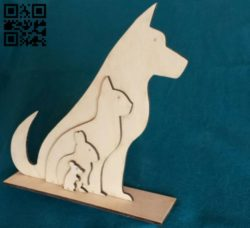 Dog Cat Rabbit Mouse  E0011548 file cdr and dxf free vector download for laser cut
