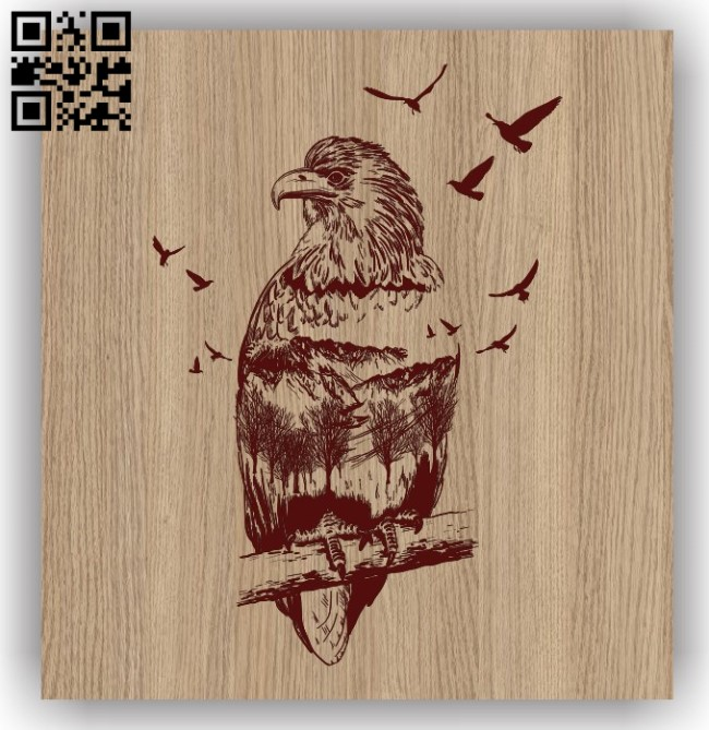 Eagle with forest E0011490 file cdr and dxf free vector download for laser engraving machines 1