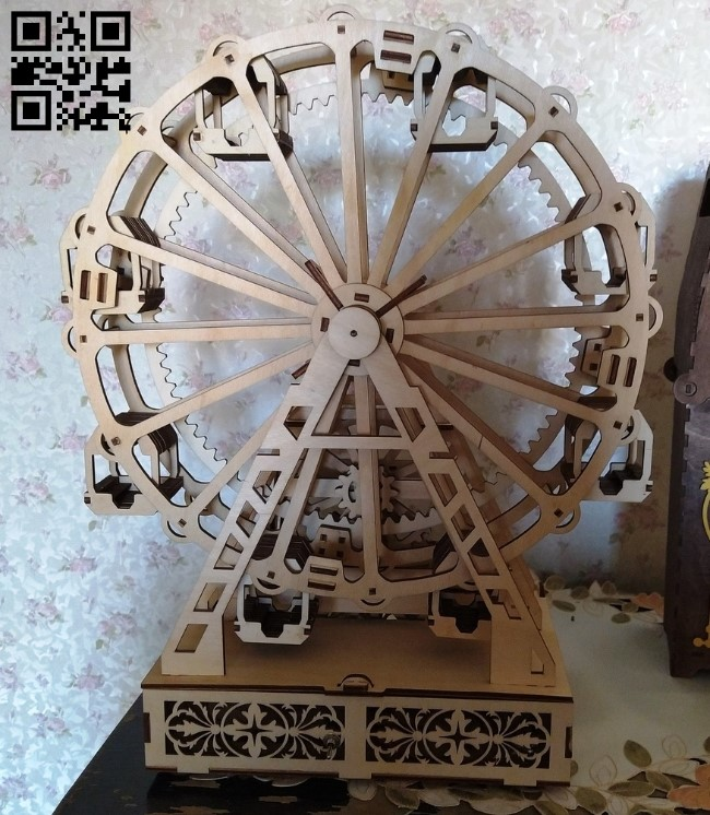 Ferris wheel E0011433 file cdr and dxf free vector download for Laser cut