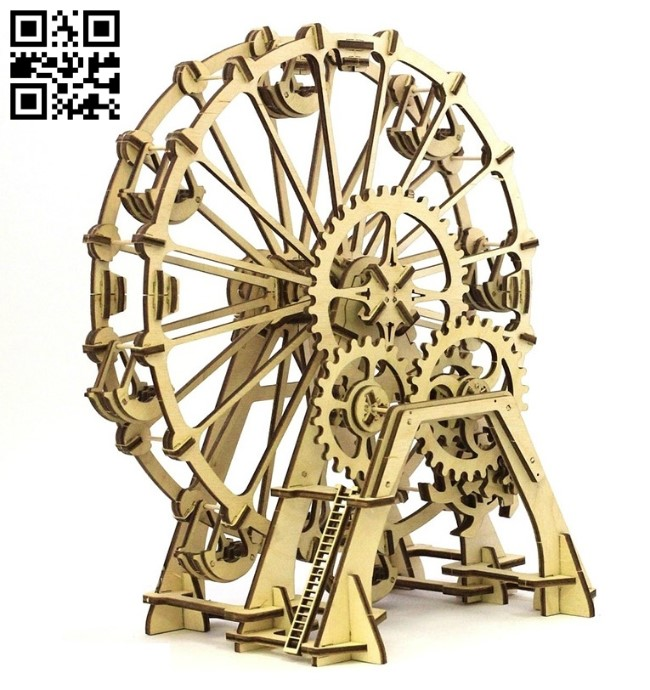 Ferris wheel E0011551 file cdr and dxf free vector download for Laser cut