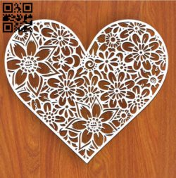 Floral heart E0011375 file cdr and dxf free vector download for Laser cut