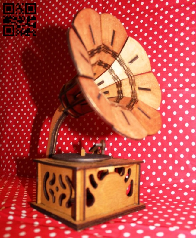 Gramophone E0011390 file cdr and dxf free vector download for Laser cut