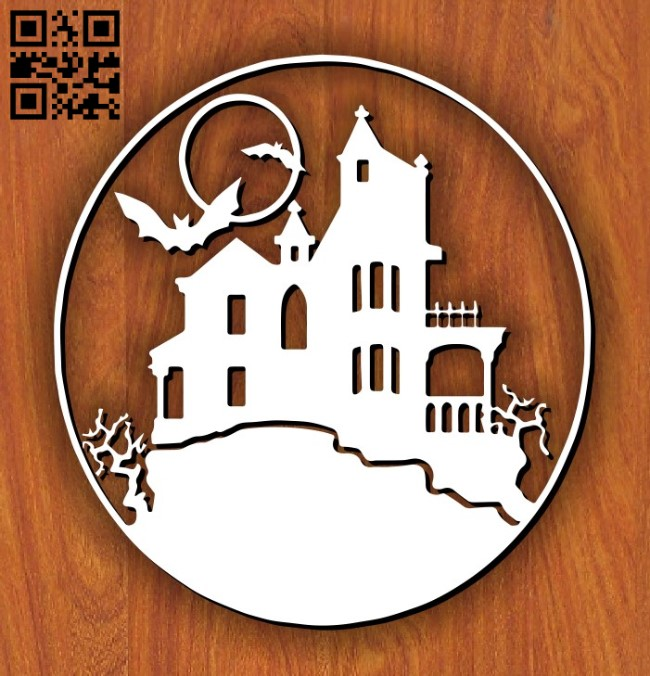 Halloween house E0011588 file cdr and dxf free vector download for laser cut