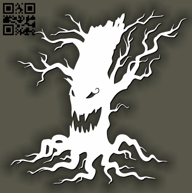Halloween tree E0011590 file cdr and dxf free vector download for laser cut