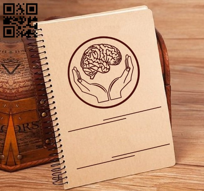 Hands and brain decorated book coverr E0011582 file cdr and dxf free vector download for laser engraving machines