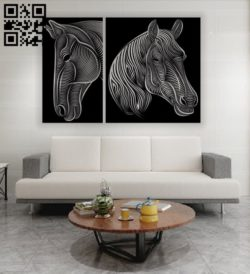 Horse head E0011580 file cdr and dxf free vector download for laser engraving machines