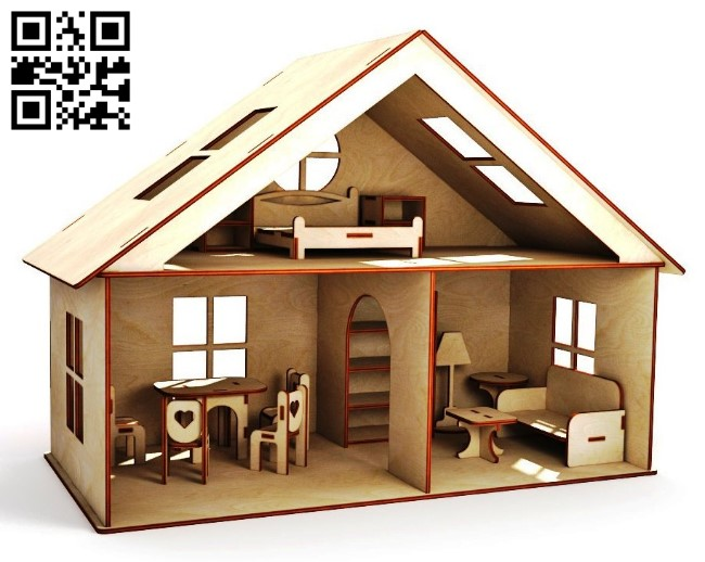 House with furniture E0011425 file cdr and dxf free vector download for laser cut