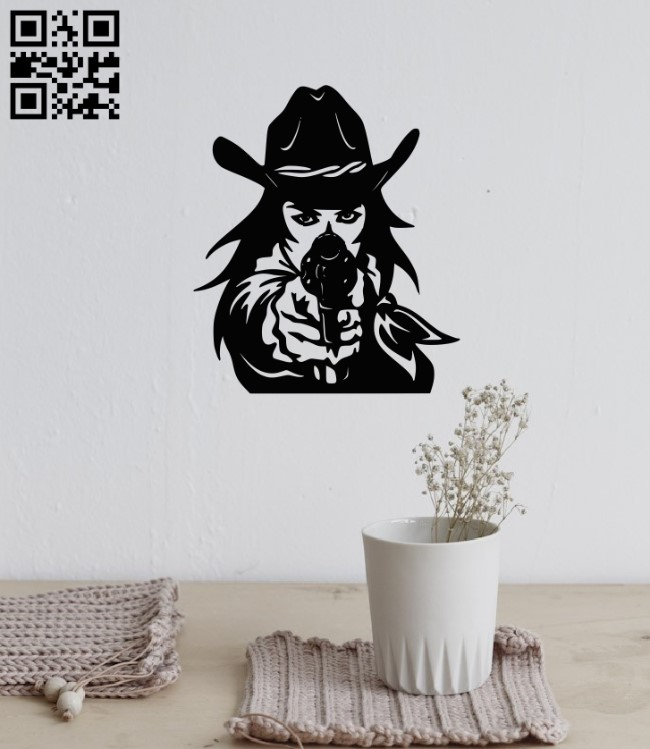 Lady Cowgirl E0011359 file cdr and dxf free vector download for laser engraving machines