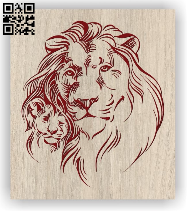 Lion father and son E0011399 file cdr and dxf free vector download for laser engraving machines