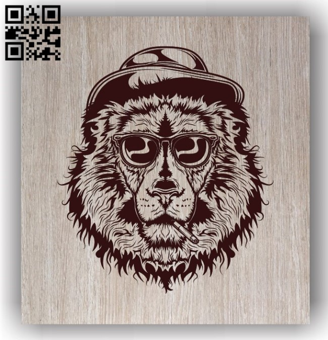 Lion with cigarette E0011472 file cdr and dxf free vector download for laser engraving machines