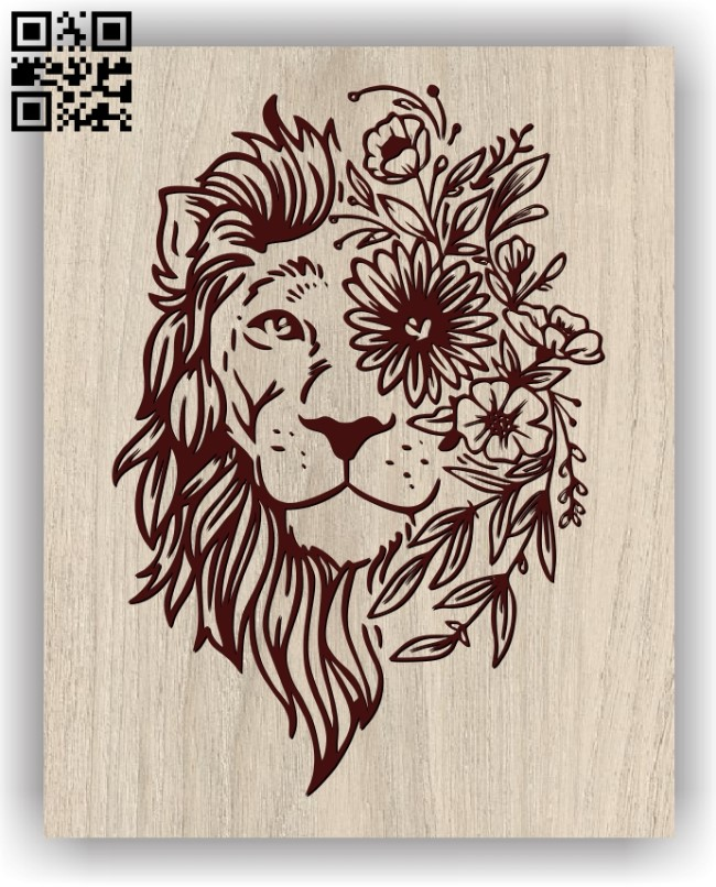 Lion with flowers E0011360 file cdr and dxf free vector download for laser engraving machines
