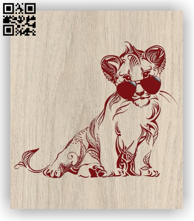 Lion with glasses E0011397 file cdr and dxf free vector download for Laser cut