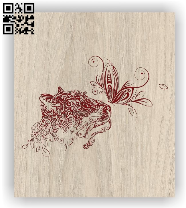 Lions and butterflies E0011398 file cdr and dxf free vector download for laser engraving machines