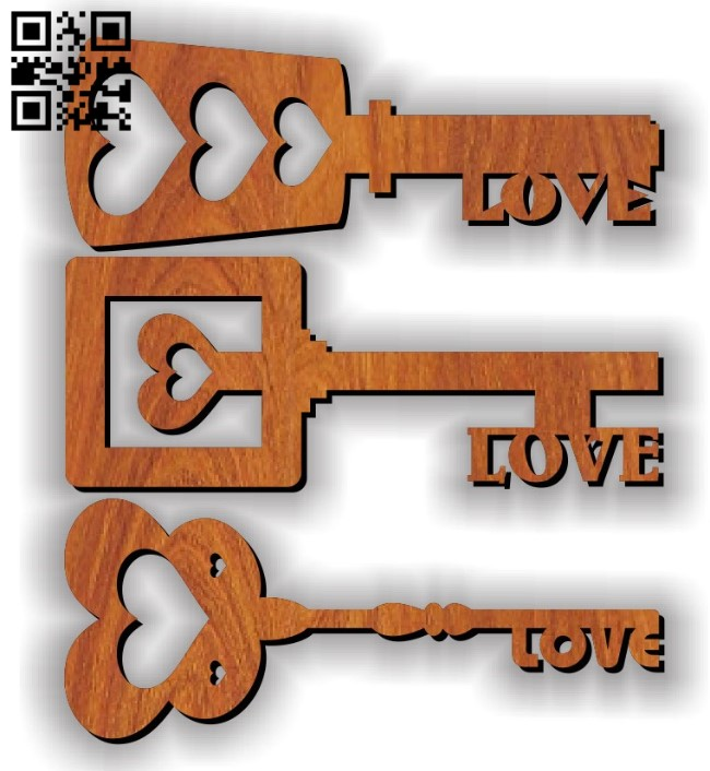 Love key E0011634 file cdr and dxf free vector download for laser cut