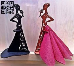 Napkin holder girl flower E0011618 file cdr and dxf free vector download for Laser cut