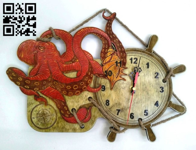 Octopus clock E0011509 file cdr and dxf free vector download for Laser cut