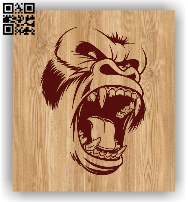 Primate head E0011455 file cdr and dxf free vector download for laser engraving machines