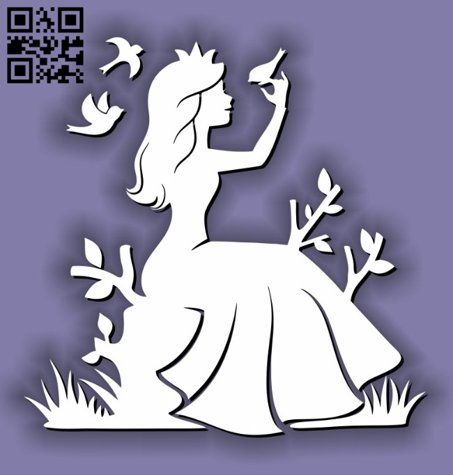 Princess with bird E0011637 file cdr and dxf free vector download for laser cut