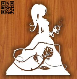 Princess with roses E0011491 file cdr and dxf free vector download for laser cut
