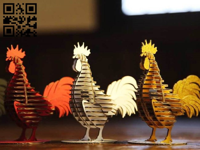 Rooster E0011611 file cdr and dxf free vector download for Laser cut
