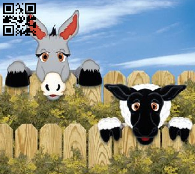 Sheep and donkey on the fence E0011535 file cdr and dxf free vector download for Laser cut