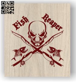 Skull with fishing E0011454 file cdr and dxf free vector download for laser engraving machines