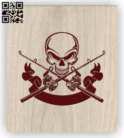 Skulls with fishing rods E0011452 file cdr and dxf free vector download for laser engraving machines