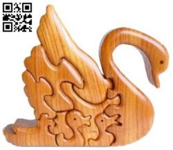 Swans Jigsaw E0011640 file cdr and dxf free vector download for Laser cut