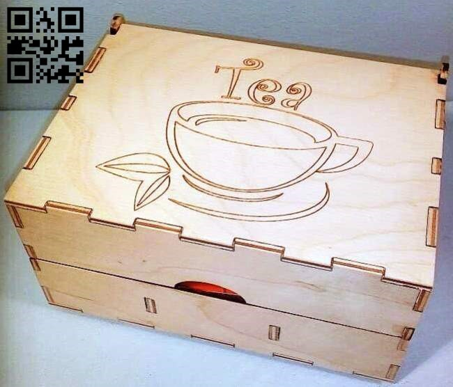 Tea box E0011631 file cdr and dxf free vector download for laser cut