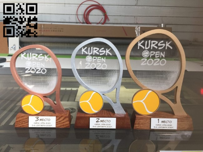 Tennis cup E0011373 file cdr and dxf free vector download for Laser cut